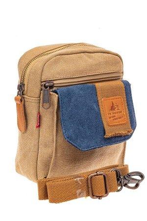 Маленькая мужская сумка через плечо или на пояс, цвет песочный