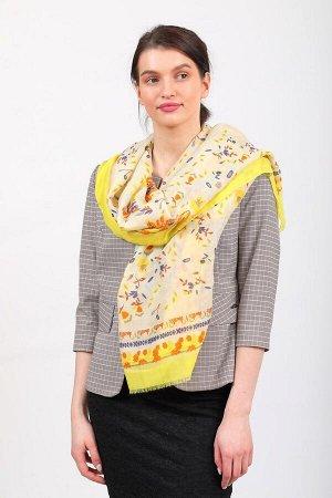 Палантин-платок-шарф шелковый с золотым блестками, желтый