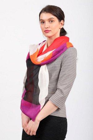 Дешевый палантин-шарф шелковый с геометричным принтом, красно-оранжевый