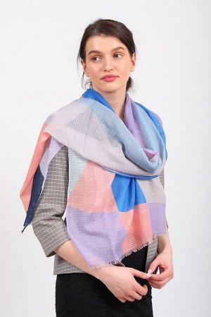 Палантин-накидка шелковая с геометричным принтом, розово-голубой, производство Китай