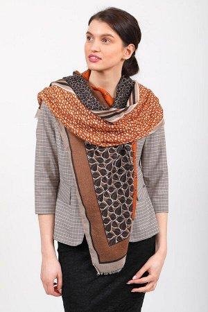 Палантин-шарф из с растительными мотивами, оранжевый