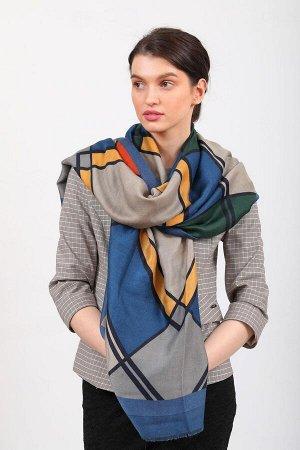 Красивый палантин платок-шарф, новинка, цвет синий с желтым