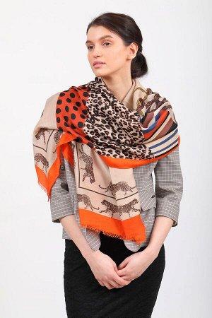 Легкий палантин платок (фото) из хлопка и вискозы с принтом леопард, цвет оранжевый, купить недорого