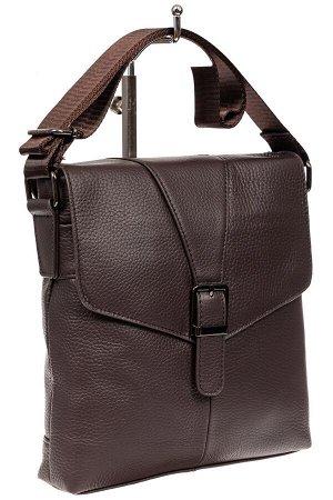 Мужская кожаная сумка через плечо, цвет шоколад