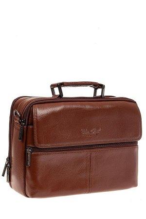 Мужская кожаная сумка через плечо, цвет коричневый