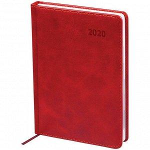 """Ежедневник датированный 2020г., A5, 176л., кожзам, """"Vesper Index"""", бордовый"""