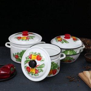 Набор посуды «Огородник», 4 предмета: кастрюли 4 л, 6 л, 8 л, миска 4 л