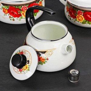 Набор посуды «Розы», 4 шт: кастрюли 2 л, 3 л, 4 л, чайник 2 л