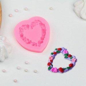 Молд силиконовый «Сердце в розочках», 7?7 см, цвет МИКС