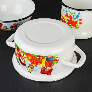 Набор посуды «Улыбка», 4 предмета: Кастрюля 1,5 л, Ковш 1,5 л, Кружка 0,25 л, Миска 0,8 л