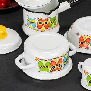 Набор посуды «Совушки», 4 шт: кружка 0,25 л, миска 0,8 л, ковш 1 л, кастрюля 1 л