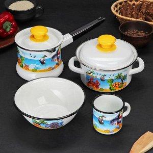 Набор посуды «Островок», 4 шт: кружка 0,25 л, миска 0,8 л, ковш 1 л, кастрюля 1 л