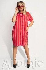 Платье рубашка красного цвета в полоску