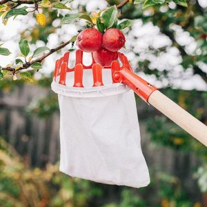 Плодосборник с мешком, деревянный черенок, МИКС