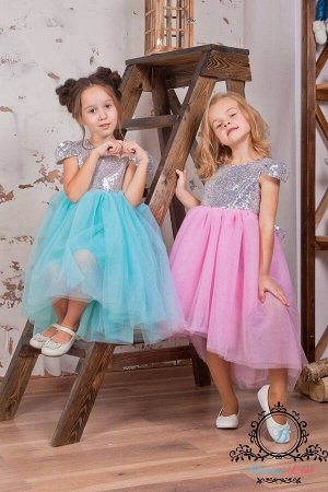 """Платье асимметричное с пайеточным верхом """"Sparkle"""" Silvery Pink"""