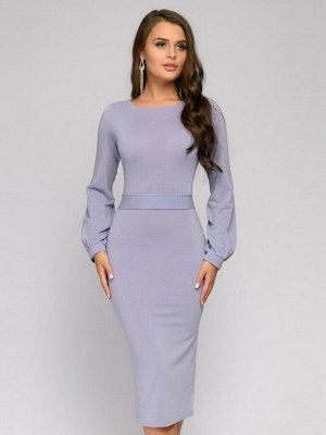 Платье лавандового цвета длины миди с пышными рукавами
