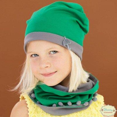 №135-✦Bloomy line✦-детская мода для маленьких модниц.Новинки — Комплект шапочка + снуд — Головные уборы