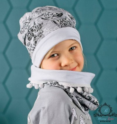 №139. =✦Bloomy line✦-детская мода для маленьких модниц — Наборы Снуд+Шапка — Головные уборы