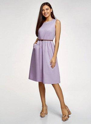 Платье с поясом без рукавов Oodji