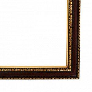 Рама для картин (зеркал) 40 х 50 х 2.8 см. пластиковая. Calligrata. цвет вишня с золотом