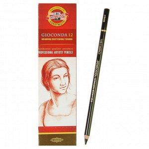 Уголь в карандаше 4.2 мм, набор 12 штук, Koh-i-Noor GIOCONDA 8810/2 Charcoal, medium, черный