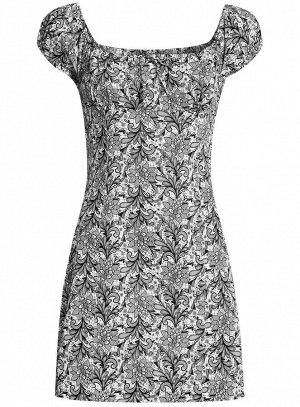 Платье хлопковое со сборками на груди Серый