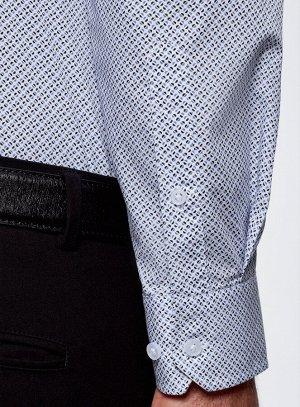 Рубашка хлопковая приталенного силуэта Синий