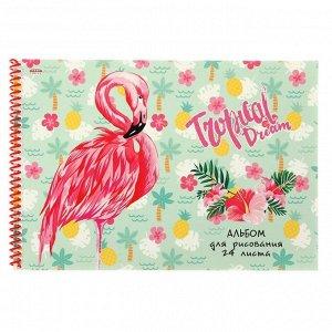 Альбом для рисования А4, 24 листа на гребне «Фламинго-2», картонная обложка, блок 100 г/м2, МИКС