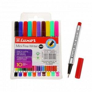 Набор капиллярных ручек, 10 цветов, Luxor Mini Fine Writer 045, узел 0.8 мм, европодвес