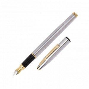 Ручка перьевая Luxor Sterling, линия 0.8 мм, чернила синие, корпус хром/золото