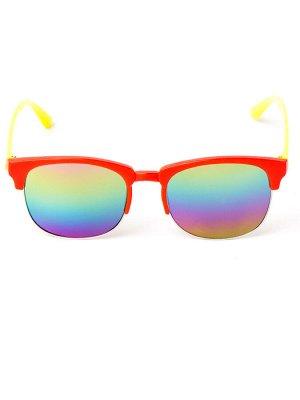 Очки детские с жёлтыми заушниками, стекло хамелеон, красный