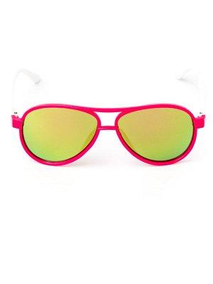 Очки детские, капельки, с белыми заушниками, стекло хамелеон, темно-розовый