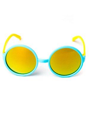 Очки детские круглые, голубые с желтыми  заушниками, стекло хамелеон (Китай)