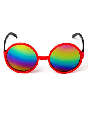 Очки детские круглые, красные с черными  заушниками, стекло хамелеон (Китай)