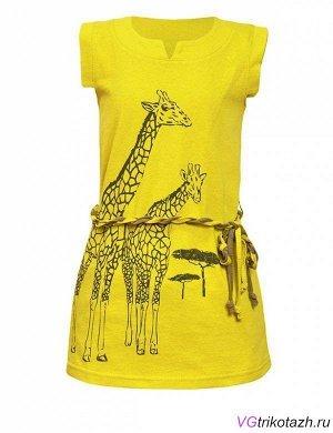 Платье Кулирка 100% хлопок Классное платье в стиле сафари, с жирафами - крутой летний прикид Фигурные проймы, шлевки и поясок. Спинка удлиненная.