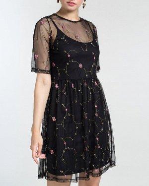 Платье жен. (002288)черно-зелено-красный