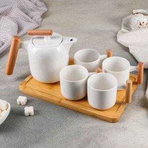 Набор чайный на деревянной подставке «Эстет», 5 предметов: чайник с ситом 600 мл, 4 кружки 200 мл, 10,5?7?6,5 см