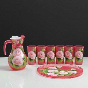 """Набор для сока с подносом """"Розы"""" художественная роспись, 6 стаканов 1250/200 мл, красный"""