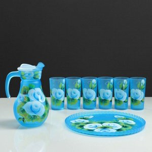 """Набор для сока с подносом """"Розы"""" художественная роспись, 6 стаканов 1250/200 мл, синий"""