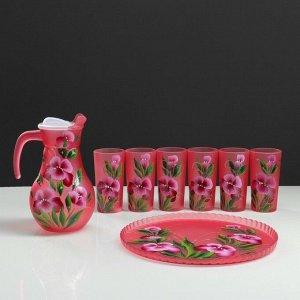 """Набор для сока с подносом """"Ирис"""" художественная роспись, 6 стаканов 1250/200 мл, красный"""