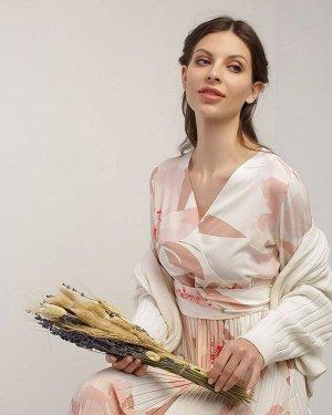 """Летнее платье плиссе с цветами для беременных и кормления """"Хилари""""; пудровый"""