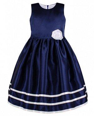 Нарядное синее платье с лентами для девочки Цвет: тёмно-синий