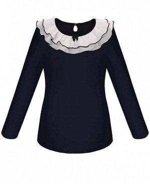 Синяя школьная блузка для девочки Цвет: тёмно-синий