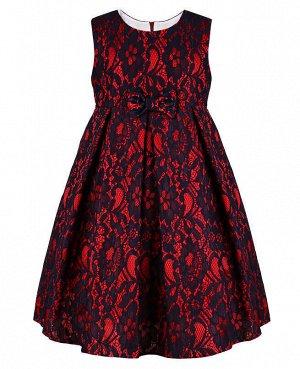 Нарядное платье для девочки со складками Цвет: тёмно-синий