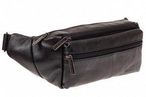 Мужская сумка на пояс из натуральной кожи, цвет черный