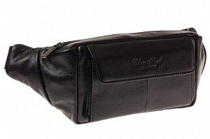 Мужская поясная сумка из натуральной кожи, цвет черный
