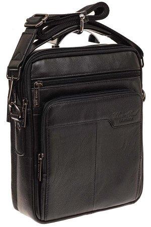 Мужская сумка из натуральной кожи, цвет черный