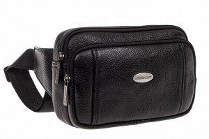 Маленькая мужская сумка на пояс из натуральной кожи, цвет черный