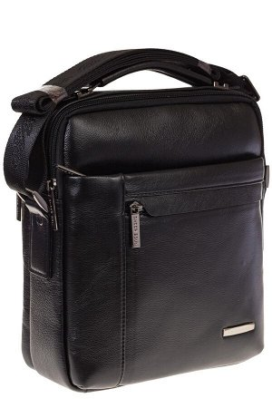 Черная мужская сумочка из натуральной кожи