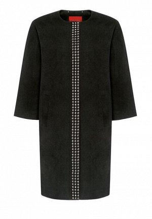 Пальто с металлизированной отделкой, цвет черный